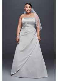 draped satin plus size a line wedding dress david u0027s bridal