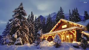 christmas lights on houses with snow wallpaper