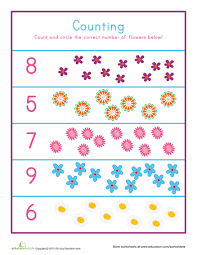 flower counting worksheets count and flowers