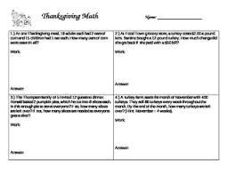 thanksgiving multistep word problems with flipchart by hines