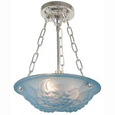 Chandelier Synonym Deco Signed Degue Ceiling Bowl Chandelier Light Fixture