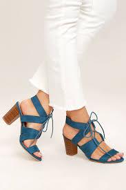 Light Blue High Heels Cute Light Blue Heels Lace Up Heels Vegan Suede Heels 32 00