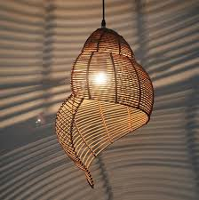 Bamboo Ceiling Light Bamboo Weaving Ceiling L Wood Droplight Conch Pendant L Led