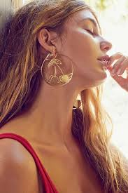 ear hoops etched cherry statement hoop earring outfitters