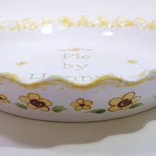 personalized pie plate ceramic sunflower pie dish personalized pie plate ceramic