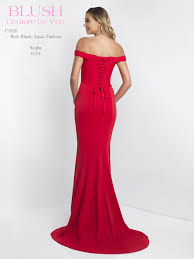 red bardot floor length evening gown back ck couture