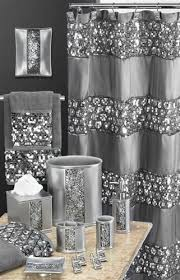 sinatra silver grey fabric window curtain w sequins guest bath