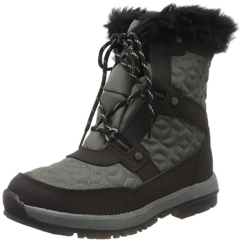 Bearpaw 2150W Canvas Closed Toe Mid-Calf Fashion, Black/Grey,
