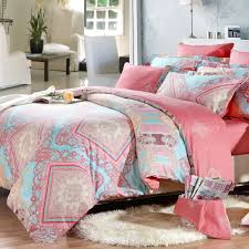 girls bedroom bedding light blue pink and coral red indian tribal print full queen size