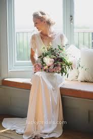 chiffon wedding dresses stunning scalloped lace v neckline and sleeves chiffon