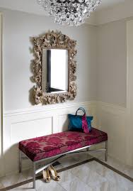 Entrance Hall Bench Silver Leaf Mirror Entry Modern With Bench Chandelier Entrance