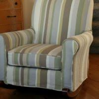 Striped Dining Chair Slipcovers Furniture White Wing Chair Slipcover Placed On Wooden Floor As