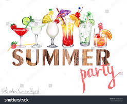 cocktail clipart watercolor summer clipart summer party stock illustration