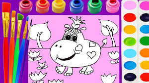 hippo coloring page for kids to learn colors color cute animals
