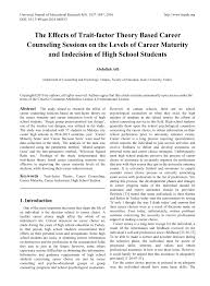 Counseling Psychology Research Articles The Effects Of Trait Factor Theory Based Career Counseling