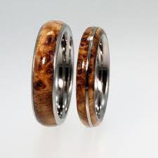 wood wedding rings wooden wedding band set titanium rings with black ash burl