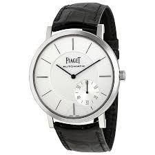 piaget altiplano automatic silver black leather men s