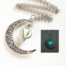 halloween jewelry glowing crescent moon necklaceglowing orb necklaceglow in