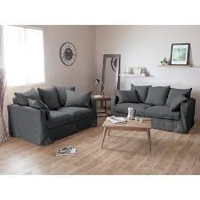 delamaison canapé canapé 3 places 2 places en froissé déhoussable assise plumtex