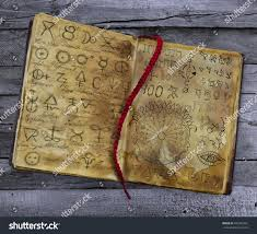 old witch book alchemic symbols lying stock photo 441942481