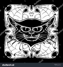halloween illustration black cat head on stock vector 492784423