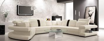 Black And White Sectional Sofa Divani Casa 6123 Modern White And Black Leather Sectional Sofa