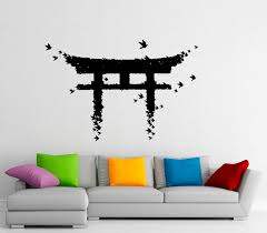 torii japanese gate wall sticker vinyl decal japanese culture zoom