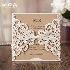 kraft paper wedding invitations wishmade hollow white lace flower invitation cards laser