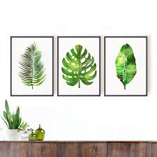 Fern Decor by Palm Leaf Print Watercolor Painting Set Of 3 Botanical Art