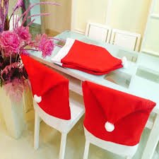 christmas chair back covers 2 6pcs santa claus hat chair back cover christmas decoration