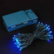 50 led battery operated lights blue on green wire