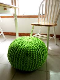 furniture terrific green knitted ottoman footstool pouf also