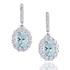 aquamarine drop earrings halo diamond and aquamarine drop earrings in 18k gold 7x5mm