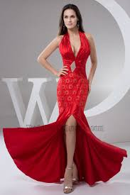red halter mermaid evening dress prom gown thecelebritydresses
