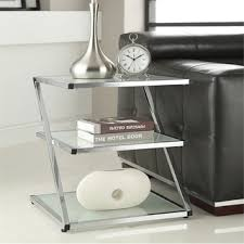 chrome glass end tables chrome finish glass chair side end table overstock shopping
