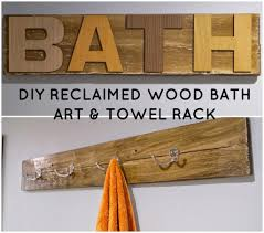 diy reclaimed bath art and towel rack