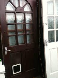 Exterior Cat Door Exterior Hardwood Door With Crazed Squares And Cat Flap In