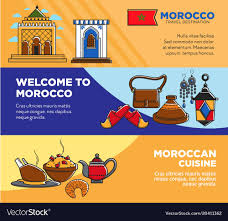 posters cuisine welcome to morocco and moroccan cuisine posters vector image
