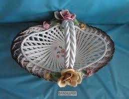 capodimonte basket of roses vintage capodimonte white lattice woven flower basket with