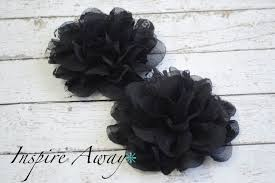 Wholesale Shabby Chic Items by 2 Large Lace Mesh Flowers Black Fabric Flowers Shabby Chic
