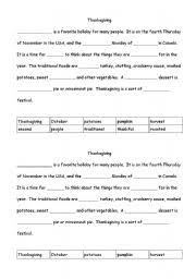 worksheets thanksgiving cloze