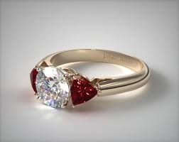 ruby and engagement rings three trillion shaped ruby engagement ring 18k yellow gold