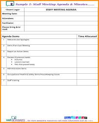 5 agenda minutes template cook resume