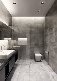 Modern Gray Tile Bathroom Bathroom Interior Modern Gray Bathroom Grey Interior Design