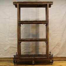 vintage industrial style shelf bookcase on casters with