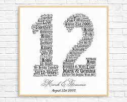 12 year anniversary gift for personalized 12th anniversary gift word printable