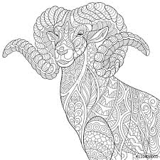 zentangle stylized cartoon goat ram ibex aries capricorn