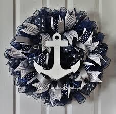 navy blue and grey nautical wreath anchor wreath beach themed