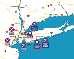 map of new york ny new york map with airports travelsfinders