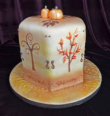 thanksgiving cake airbrushed trees with custom stencils and royal